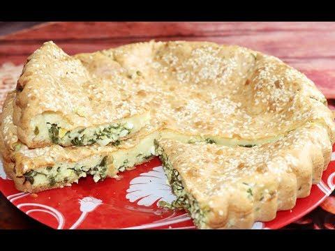 Заливной пирог с зеленым луком и яйцом.  Ну, оОчень вкусно!