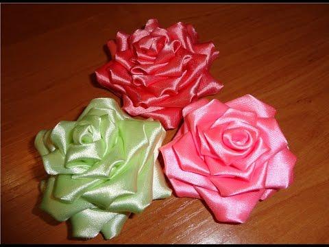 Розы из лент канзаши мастер класс