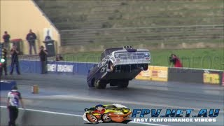 WHEELSTANDING BLOWN V8 F100 DANDY ENGINES 7.14 @ 185 MPH SYDNEY DRAGWAY 3.8.2013