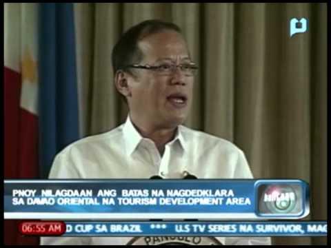 PNoy nilagdaan ang batas na nagdedeklara sa Davao Oriental na 'Tourism Development Area'