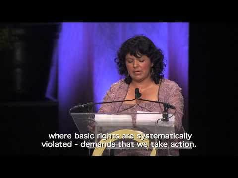 Berta Caceres acceptance speech, 2015 Goldman Prize ceremony