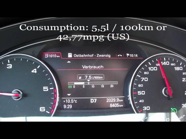 2012 Audi A6 3.0 TDI Quattro Fuel Consumption - YouTube