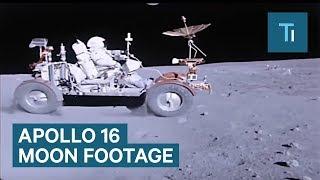 Apollo 16 Astronauts Drive On The Moon
