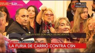 """La furia de Elisa Carrió contra C5N: """"Le digo a C5N que ustedes son unos delincuentes"""""""