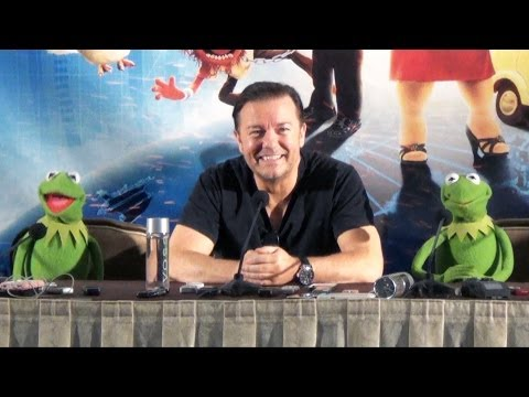 The Muppets Most Wanted Press Conference W  Ricky Gervais, Tina Fey, Kermit, Sam Eagle, Miss Piggy + video