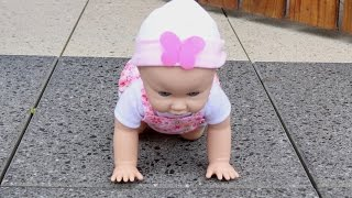 Giggles Wiggles Crawling baby Doll,  Baby Doll go out for a walk, Baby Doll Run Away