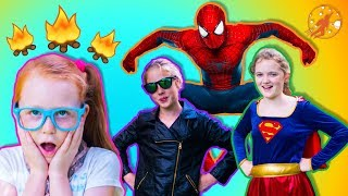 Little Superheroes - The Super Squad and The Camping Trip Lessons with Supergirl and Spiderman