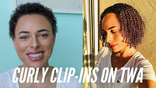 Curly Clip In Hair Extensions on 3C TWA/Super Short Hair - Full Installation & Review!