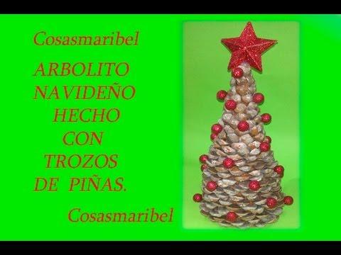 Adorno navide o reciclado arbolito hecho con trozos de - Adornos de navidad hechos con pinas ...