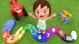 Colors & Numbers for Children with Little Baby Fun Play with Snake Puzzle Toy Set Numbers 3D Kids
