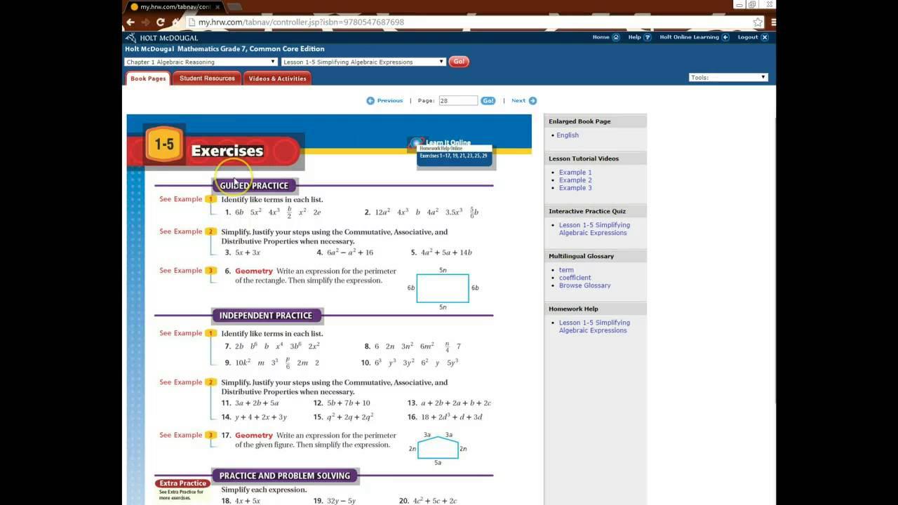 Glencoe algebra 1 worksheets