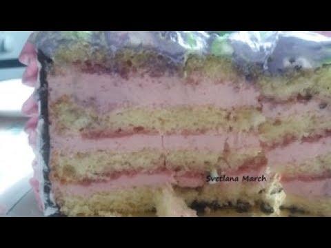 Бисквитный торт с клубничным суфле / Sponge cake with strawberry souffle sponge