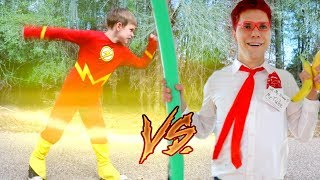 The Flash vs Batman Vs YouTube: Play it Safe SuperHeroKids! SHK Comic in Real Life