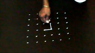 Easy 6-6 dots rangoli with 2 colors easy rangoli design  by NIHA RANGOLI