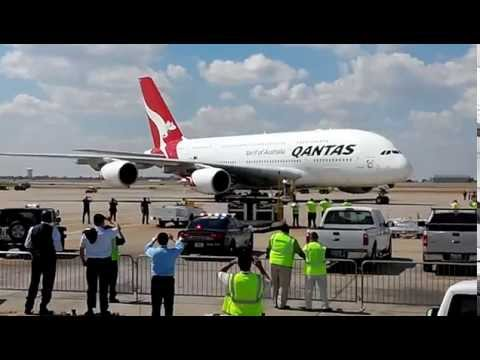 Qantas A380 landing at Dallas/Fort Worth International Airport