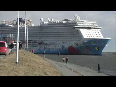 Arrival Norwegian Breakaway at the Eemshaven Netherlands on 14 March 2013.
