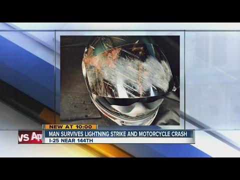 Man on sport bike struck by lightning