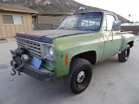 1975 Chevrolet K10 Stepside 4x4 GMC Chevy Pickup Truck 350 V8  Wench 4 Spd Video Review