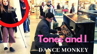 Download lagu Playing Dance Monkey on Piano in Public Except There are Two Different Camera Angles