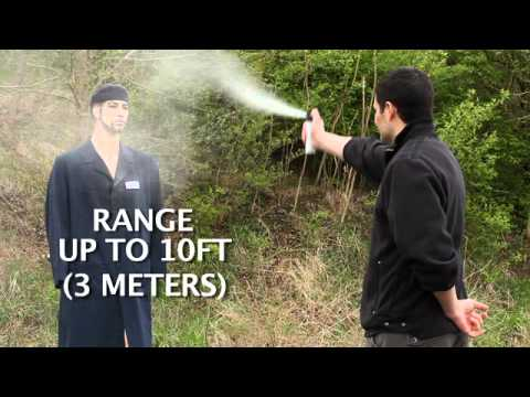 Pepper Spray Demo: Cone Pattern (SABRE)  - View the cone spray pattern of a SABRE spray.