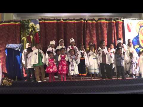 Cute kids sing song in Ethiopian Orthodox Church 08032013 #2
