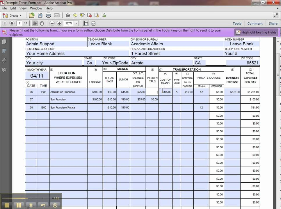 expense report forms excel