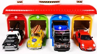 Learn Colors with Tow Truck Police Car UPS Delivery Truck Sports Car and Garage Parking Playset for