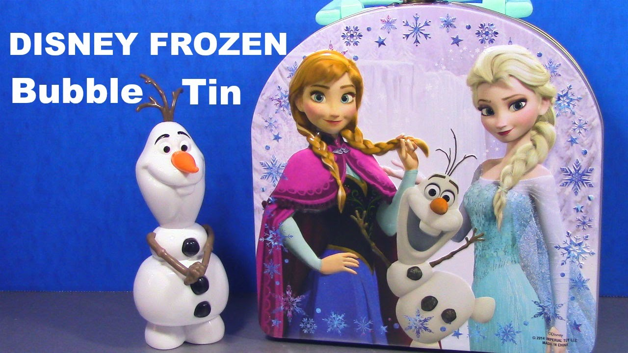 Disney Frozen Elsa Anna Olaf Frozen Bubble Tin Toy Review