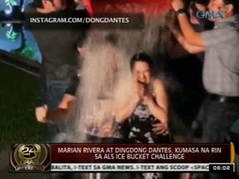 24 Oras: Dingdong Dantes at Marian Rivera, kumasa na rin sa ALS Ice Bucket Challenge