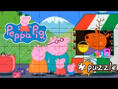 Свинка Пеппа пазл для детей. Папа свин, мама свинья и Пеппа