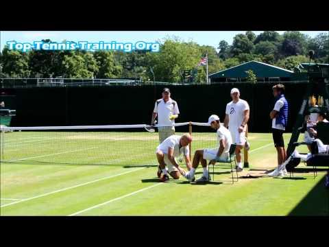 Novak Djokovic Full Warm Up @ Wimbledon 2014 Resistance Band, Stretching