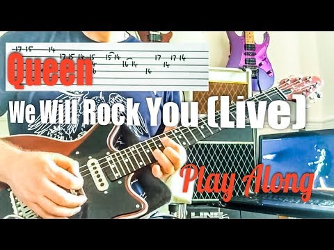 We Will Rock You - Queen Wembley 86 Guitar Play Along
