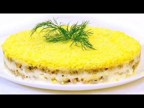 Салат мимоза с огурцом свежим и картошкой