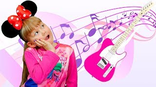 Alisa Plays Musical Instruments and Wakes up Papa - Pretend Play by Alisa Fun TV