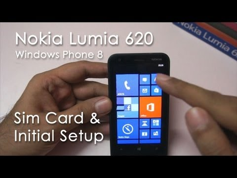 Nokia Lumia 620 Inserting SIM. Initial Setup & Overview