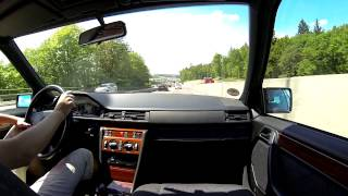 Driving with my W124 E320 on German Autobahn A8 to Karlsruhe with GoPro Hero3