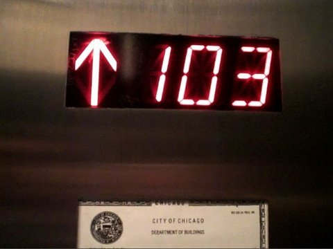 Going up on the Fast Schindler Elevators at Sears/Willis Tower Skydeck in Chicago