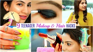 9 TEENAGERS Life Saving HACKS - Makeup, Hair & Beauty | #Fun #Anaysa
