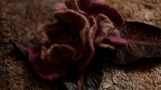 цветы из шерсти.Free Video Tutorial. Felted Peony Flowers .Work with resists.