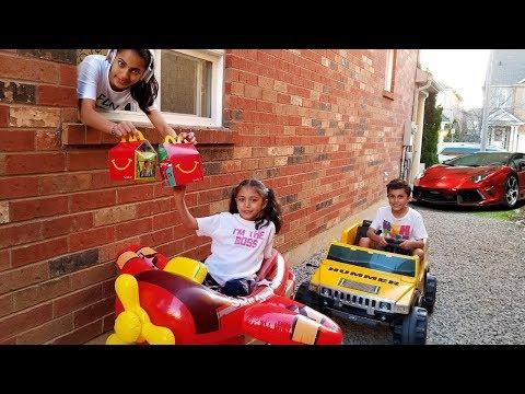 McDonalds Drive Thru Prank! Power Wheels Ride On Car Kids Pretend Play part 2