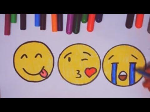 Как нарисовать смайлики. Учимся рисовать смайлы. Смайлик плачет, показывает язык, шлет поцелуй
