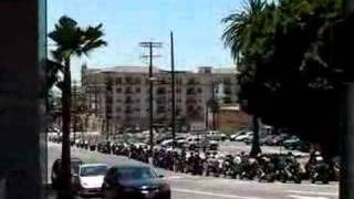 LOS ANGELES - MOTORCYCLES ON WILSHIRE BLVD & BIXEL ST