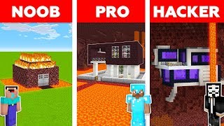 Minecraft NOOB vs PRO vs HACKER: NETHER HOUSE BUILD CHALLENGE in Minecraft / Animation