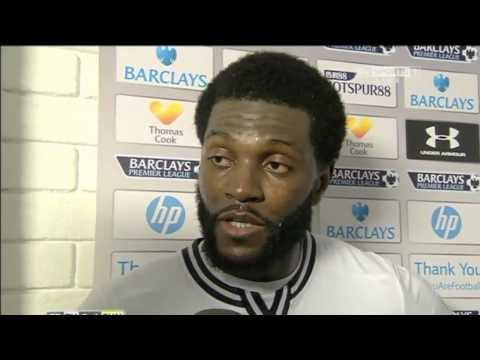 Adebayor & Eriksen post match interview   Tottenham vs Sunderland 5 1 2014