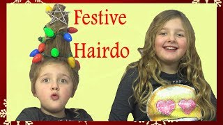 Amazing DIY Festive Christmas Tree Hair Really Lights up! Ava gets a Festive Hairdo Fun Family Three