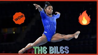 "Simone Biles/ The signature move that will now be called the ""Biles"" and Her practicing it. 2019"