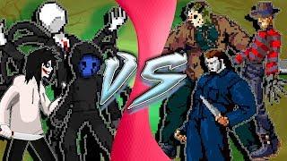 CREEPYPASTA vs SLASHERS! (Jeff, Jack, SlenderMan vs Jason, Freddy, Michael Myers) CARTOON FIGHT CLUB