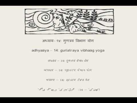 Hindi Bhagavad Gita  (in six scripts): Chapter 14-new