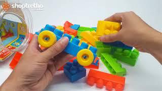 BÉ chơi xếp hình ngôi nhà, xếp hình ô tô với bộ đồ chơi xếp hình cao cấp