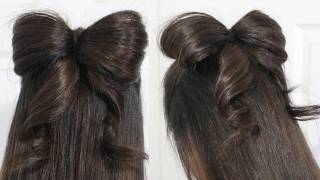 Hair Bow Tutorial Hairstyle Half-Updo for Medium Long Hair